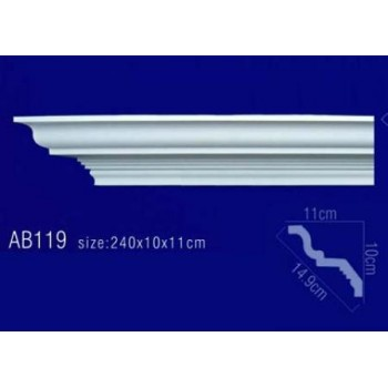 AB119 Плинтус потолочный без орнамента