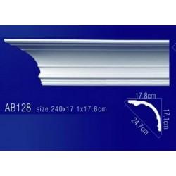 AB128 Плинтус потолочный без орнамента