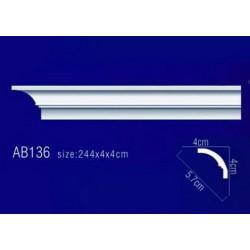 AB136 Плинтус потолочный без орнамента